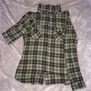 Olive Green Button Down Flannel